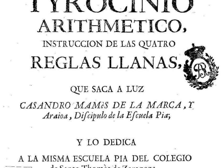 Tyrocinio arithmético de Casandro Mamés de la Marca y Araioa (Imagen vía Biblioteca Digital Hispánica)
