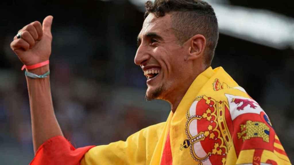Ilias Fifa celebra su oro en el campeonato de Europa de Ámsterdam.