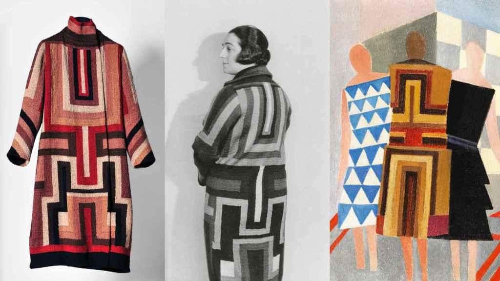 Abrigo para Gloria Swanson, Sonia Delaunay con él y cuadro 'Vestidos simultáneos'. | Foto cortesía de Museo Thyssen-Bornemisza.