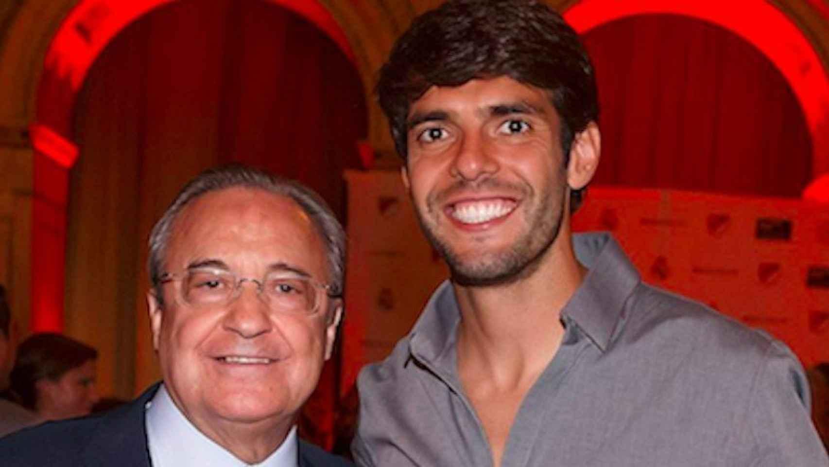 Florentino Pérez y Kaká en un acto de la MLS.