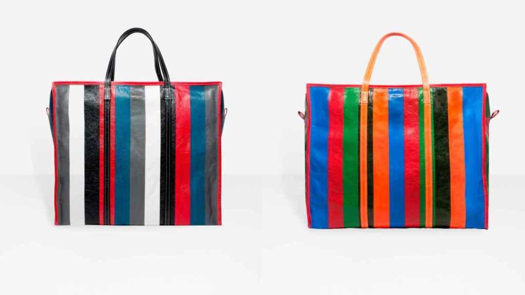 Dos versiones de la Shopper Bag de Balenciaga en piel. | Foto: Balenciaga.