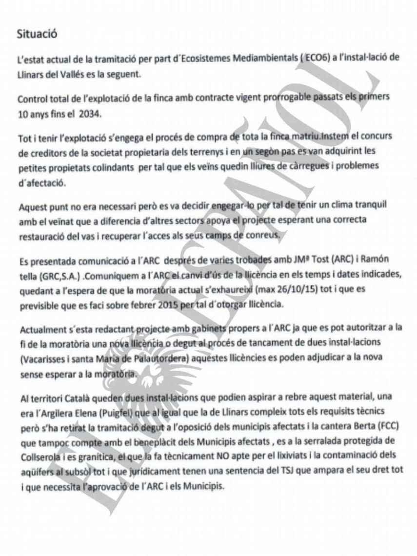 DOCUMENTO Nº 39. Documento trasladado a la cúpula de la empresa pública Infraestructures sobre la concesión de una licencia para un vertedero.