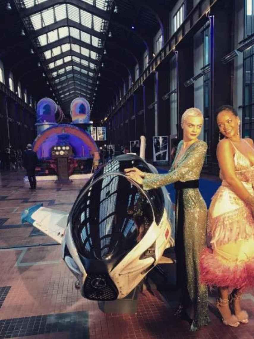 La modelo y Rihanna, durante la promoción de la película.