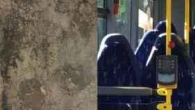 A la izquierda, una supuesta cara de Bélmez; a la derecha, los asientos vacíos de un autobús.