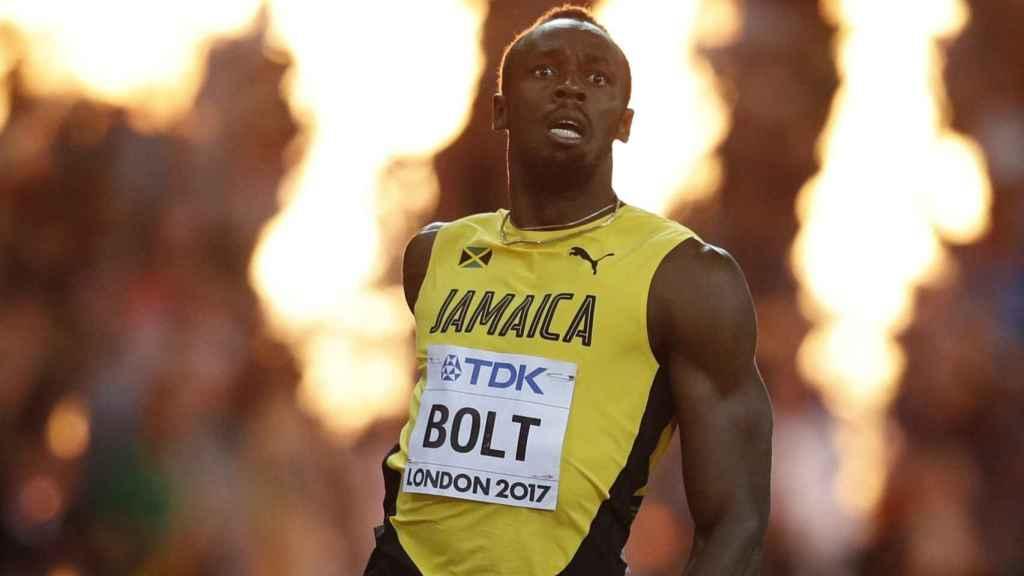 Usain Bolt durante la prueba de los 100 metros