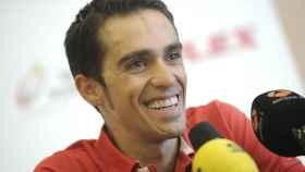 Alberto Contador, durante una campaña de su fundación.