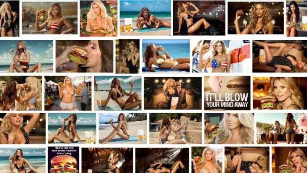 Imágenes publicitarias de la cadena de hamburguesas Carl's Jr.