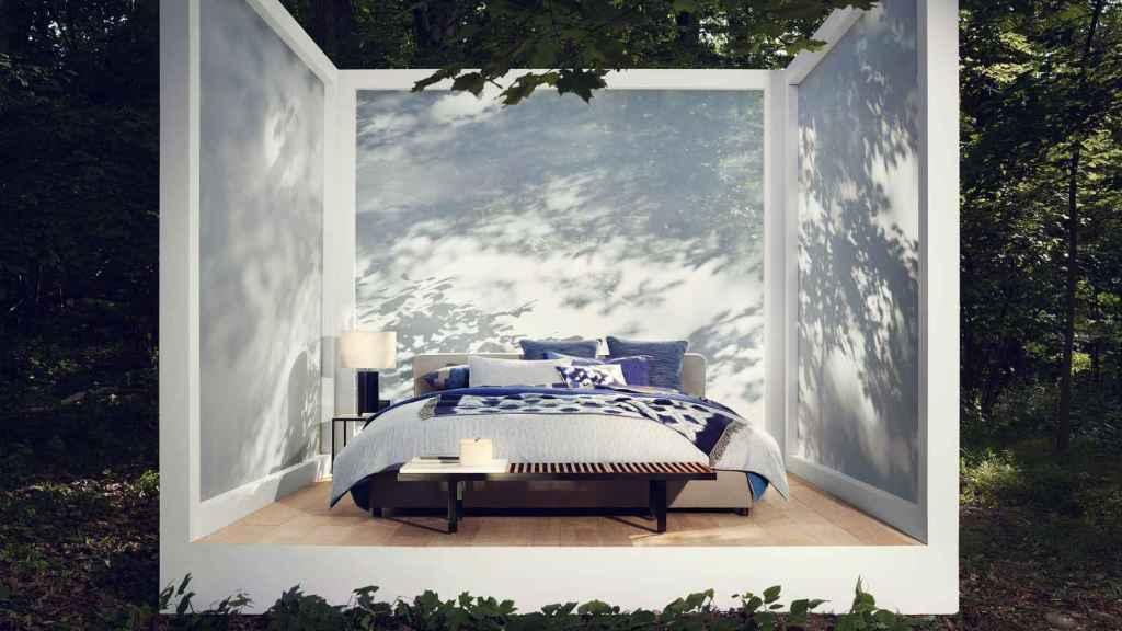 Espacio de la nueva propuesta de Zara Home Second Nature, donde protagonizan el descanso el verde y el azul.   Foto: Zara Home.