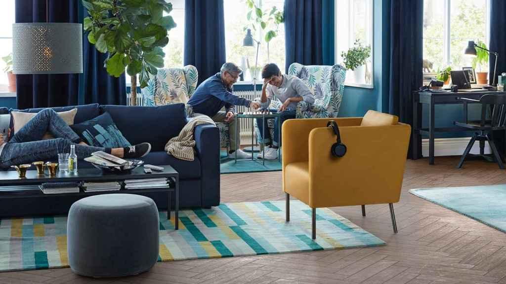 El amarillo se queda como accesorio y en el salón en esta propuesta de IKEA.   Foto: IKEA.