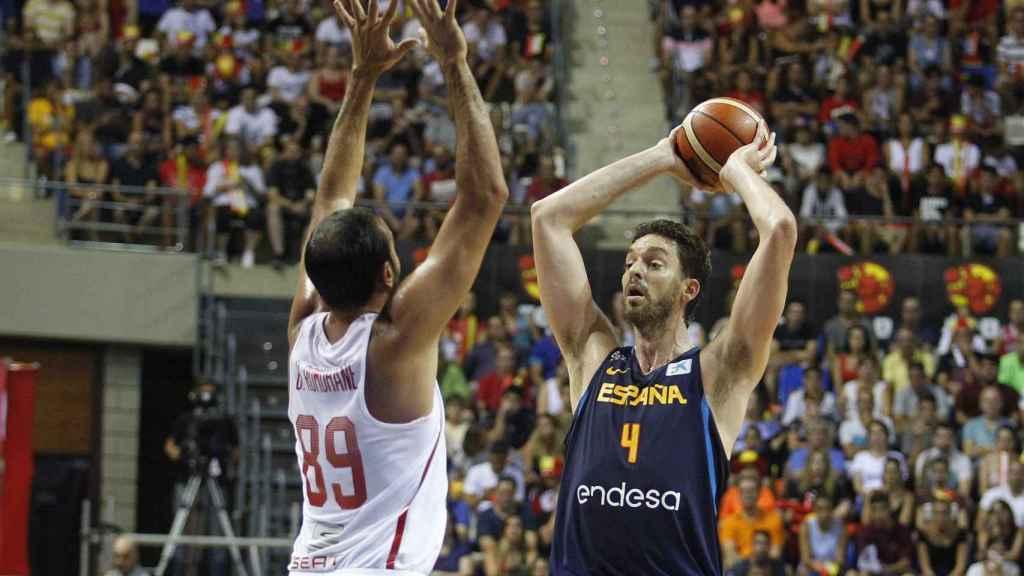 El pívot de la selección española de baloncesto Pau Gasol, en un momento del partido.