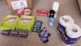 Algunos de los productos de la caja