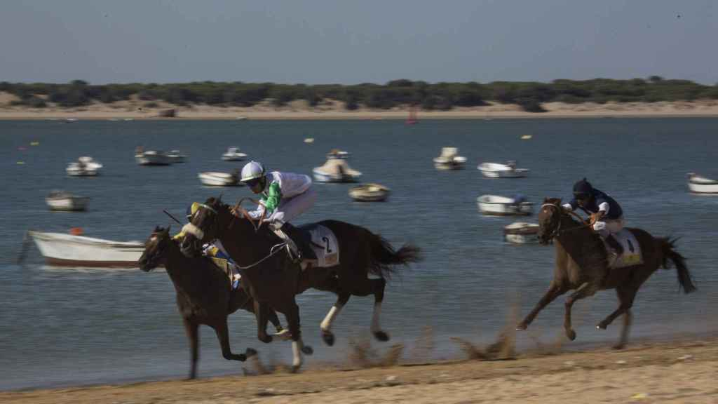 Los participantes atravesando la playa de Sanlúcar con el coto de Doñana al fondo. Foto Fernando Ruso