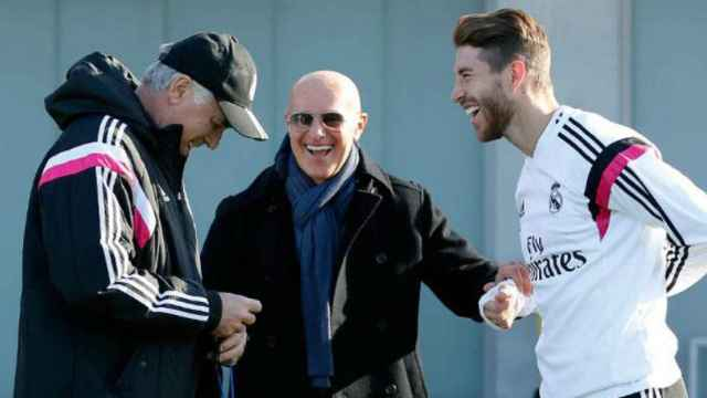 Sacchi en Valdebebas con Ancelotti y Ramos