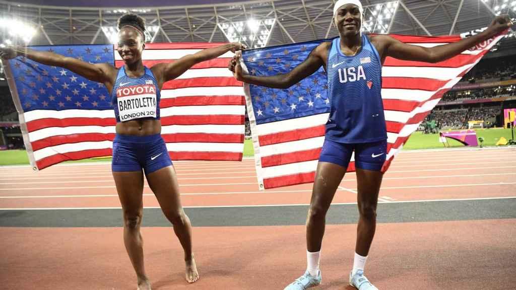 Bartoletta y Brittney Reese, bronce y oro mundial en longitud.