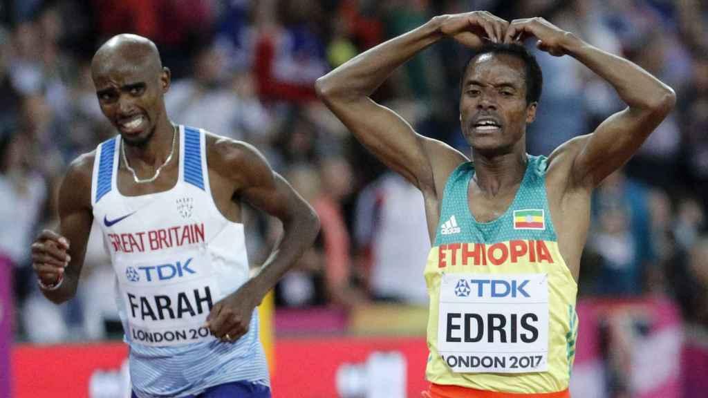 Farah y Edris tras la carrera.