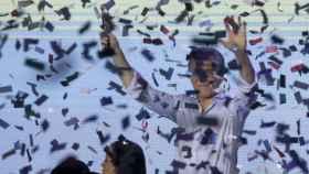 Mauricio Macri, celebrando la victoria electoral.