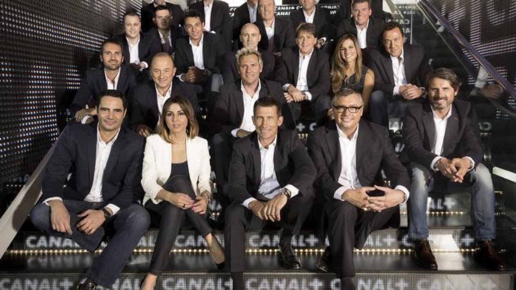 Equipo de deportes de Canal+ antes de la llegada de Movistar.
