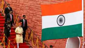 El primer ministro Modi tras su discurso en Nueva Delhi este lunes
