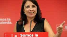 Adriana Lastra, número dos del PSOE, este miércoles en la sede de Ferraz.