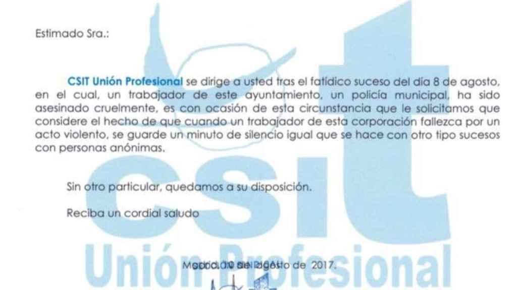 Petición del sindicato policial a la alcaldesa de Madrid, Manuela Carmena.