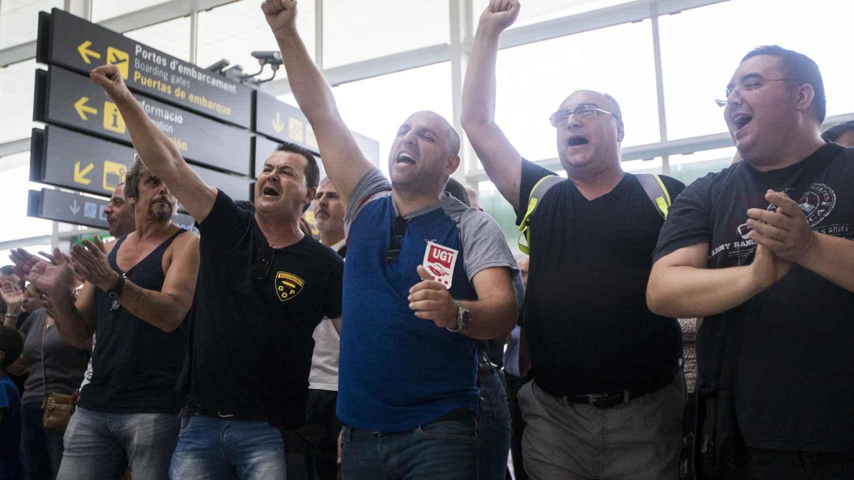 Trabajadores de Eulen protestan en la T1 del Aeropuerto de Barcelona-El Prat