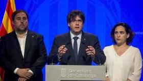 Junqueras, Puigdemont y Ada Colau han comparecido ante los medios de comunicación pasadas las nueve de la noche