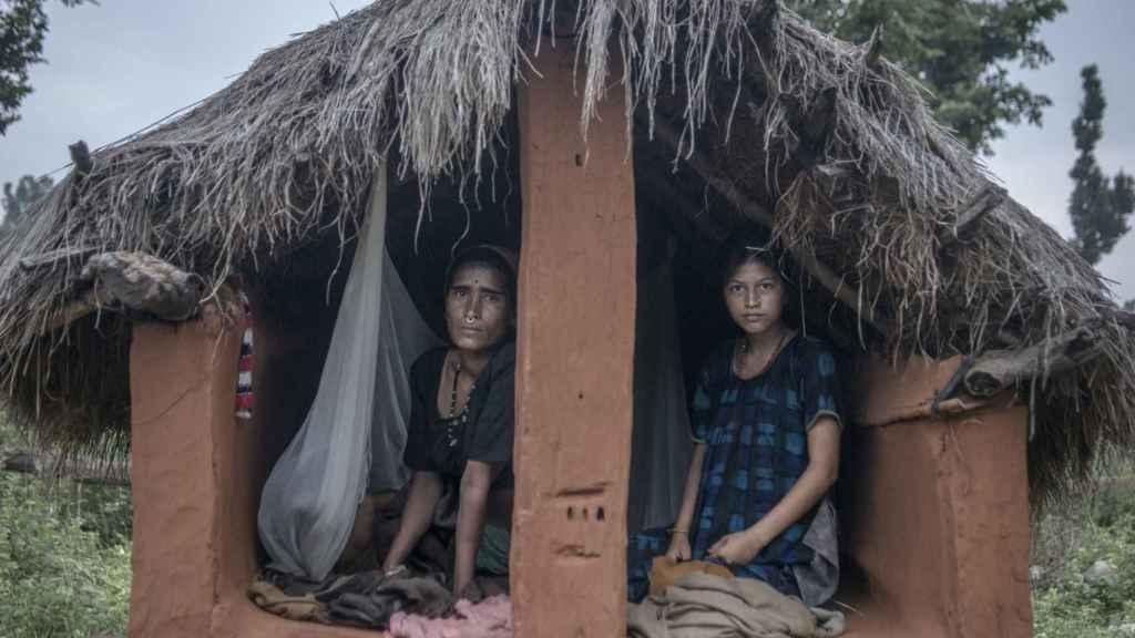 Choza donde las mujeres viven durante el 'chhaupadi'.