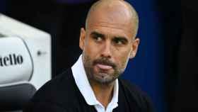 Pep Guardiola, en el último partido del City en Premier.