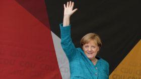 Angela Merkel durante un mitin electoral.