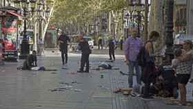 Las Ramblas después del atentado.