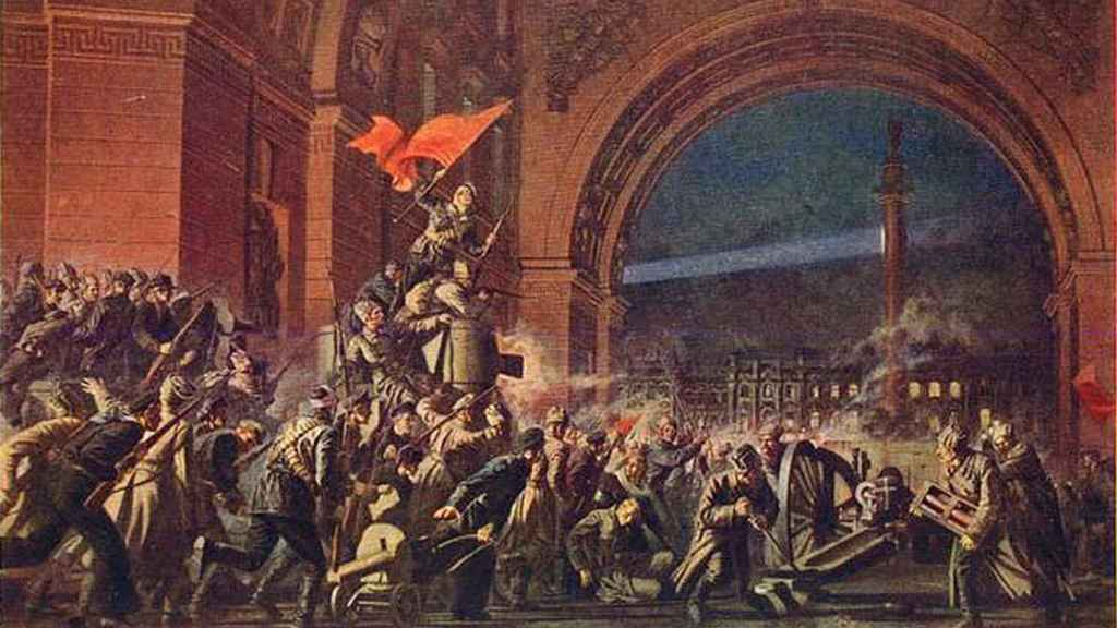 Cuadro emblemático de la toma del Palacio de Invierno, representando ese mismo Arco del Triunfo con el edificio al fondo.