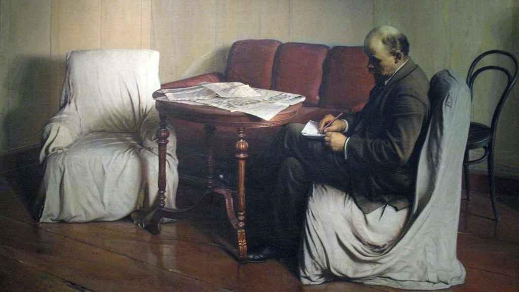 Retrato de Lenin redactando una proclama en su habitación del Instituto Smolny, obra de Isaak Brodsky.