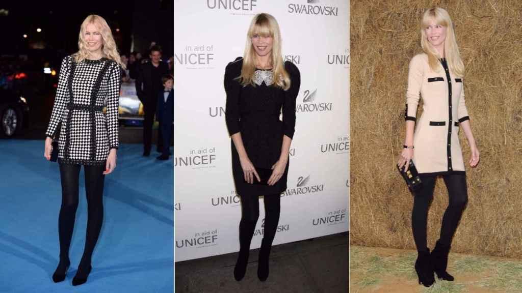 La modelo en varios actos en los que ha elegido, como en la mayoría de las ocasiones, medias tupidas en negro para acompañar sus outfits. | Foto: Getty Images.