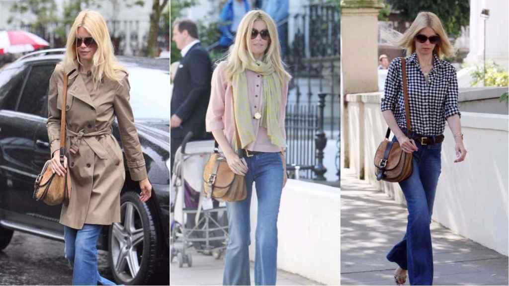 La modelo en sus salidas por las calles de Londres, con un look seventies bastante marcado, bandolera y gafas. El trench es uno de sus básicos. | Foto: GTRES.