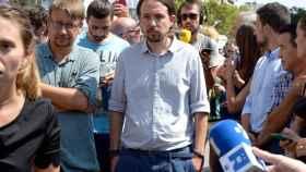 Pablo Iglesias, junto a Xavier Domènech el pasado viernes en Barcelona.