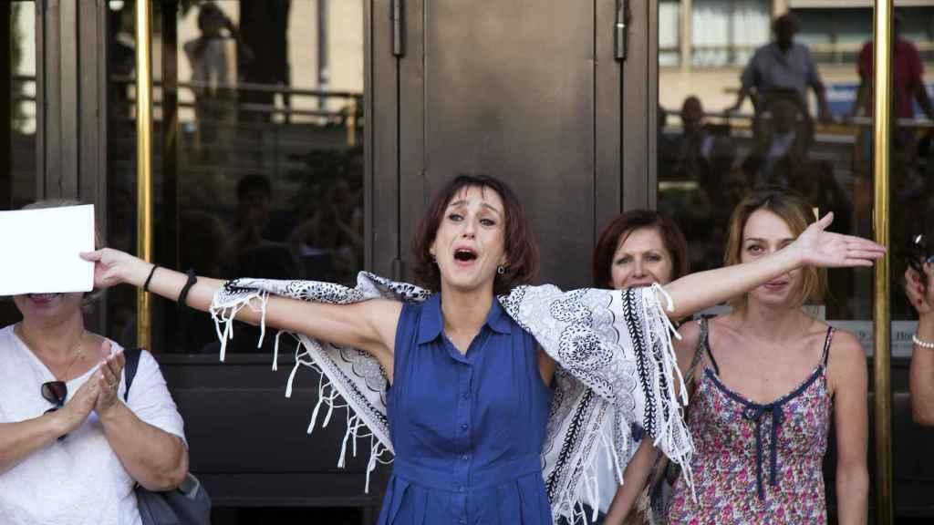 Juana Rivas, a su salida de los Juzgados de Granada, la semana pasada.