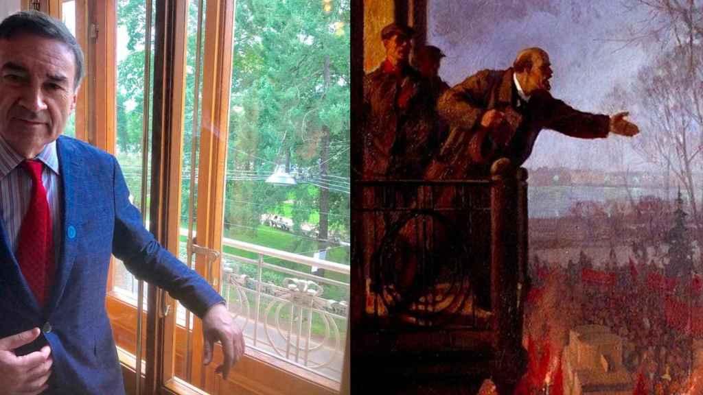 """El balcón del palacio de Matilde Kschessinskaya desde el que Lenin expuso las """"tesis de abril"""" y el cuadro que representa su arenga."""