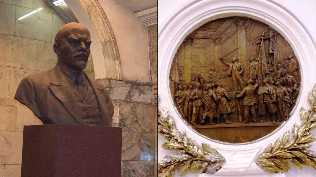 Un busto de Lenin y un bajorrelieve de uno de sus discursos en dos estaciones del metro de San Petersburgo.