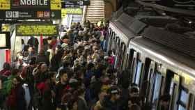 El metro de Barcelona durante la huelga de 2016.