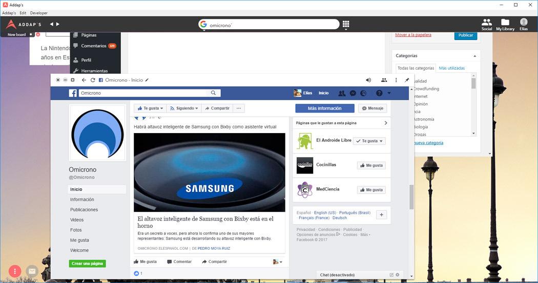 facebook addaps navegador web ventanas
