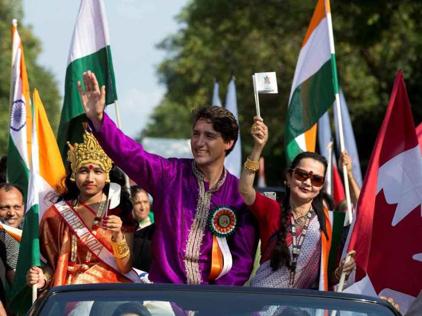 Justin Trudeau durante el desfile del Día de India en Montreal.