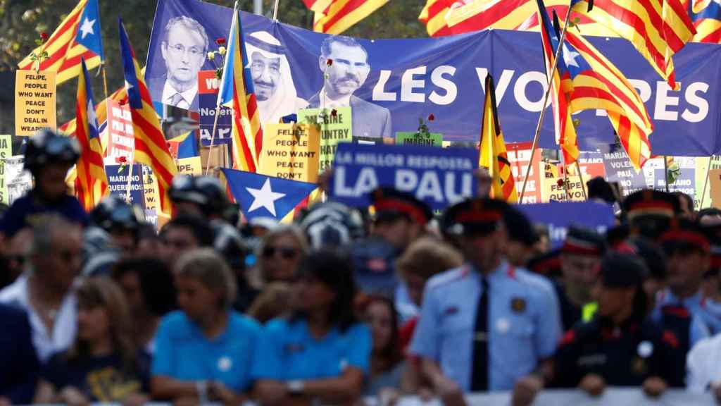 Imagen de la manifestación en contra de los atentados de Cataluña.