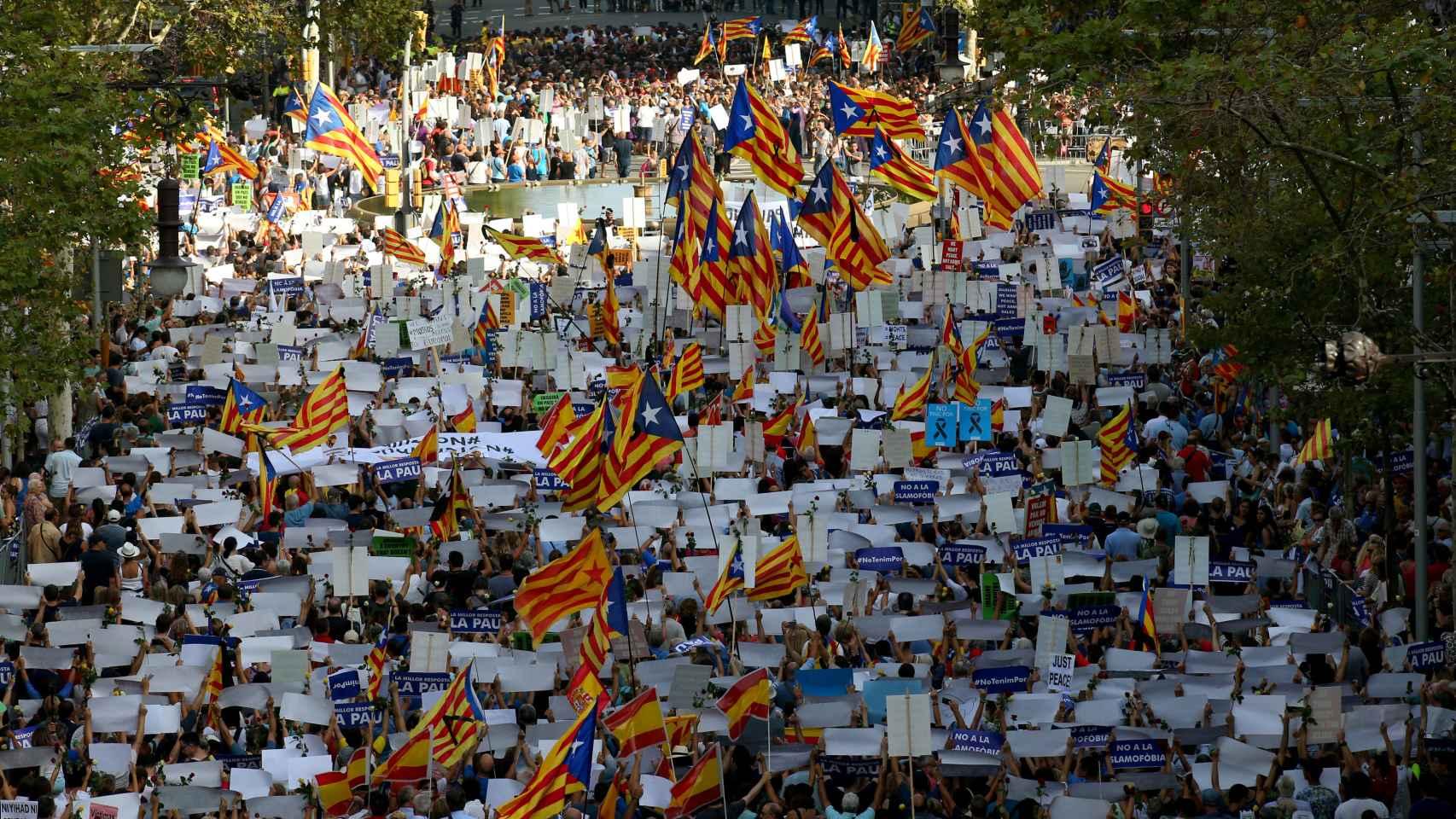 En un encuentro convocado para manifestar y demandar la unión contra un enemigo común,  numerosos catalanes han puesto de relieve su sed de división a través del izado de esteladas.