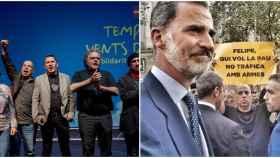 A la izquierda, acto de homenaje a Arnaldo Otegi en Barcelona en mayo de 2016. David Minoves aparece justo a la izquierda del dirigente abertzale, con el puño en alto. La imagen de la derecha es de la manifestación en Barcelona contra el terrorismo, con el Rey en primer plano y Minoves portando una pancarta acusándole de traficar con armas.