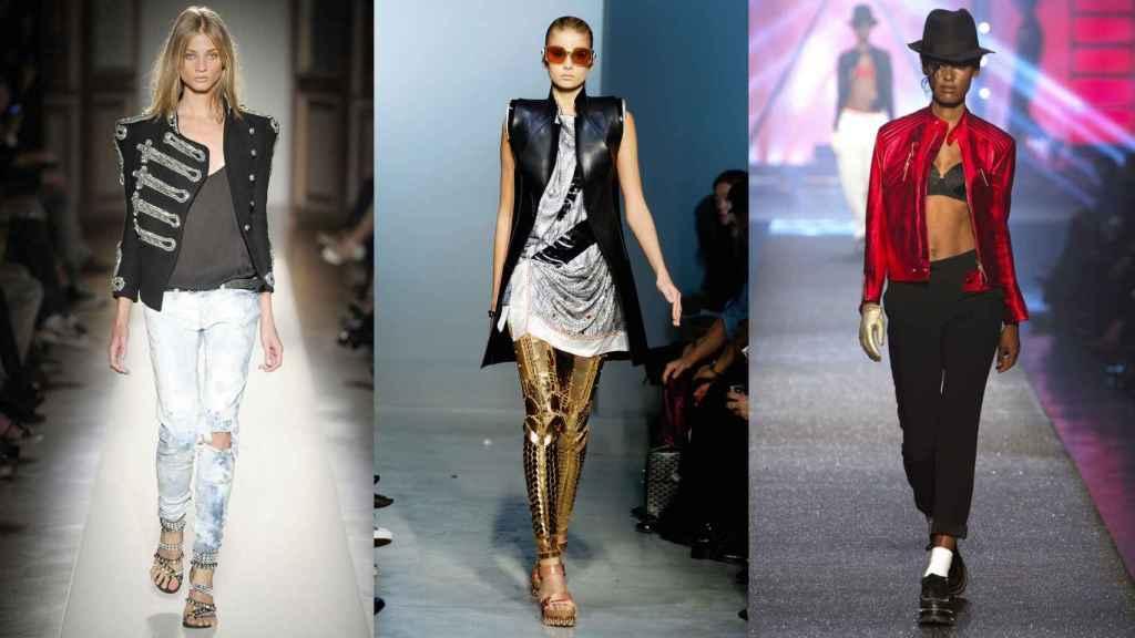 Propuestas de Balmain, Balenciaga y Jean Paul Gaultier inspiradas en los populares estilismos del cantante.  Foto: Getty Images.