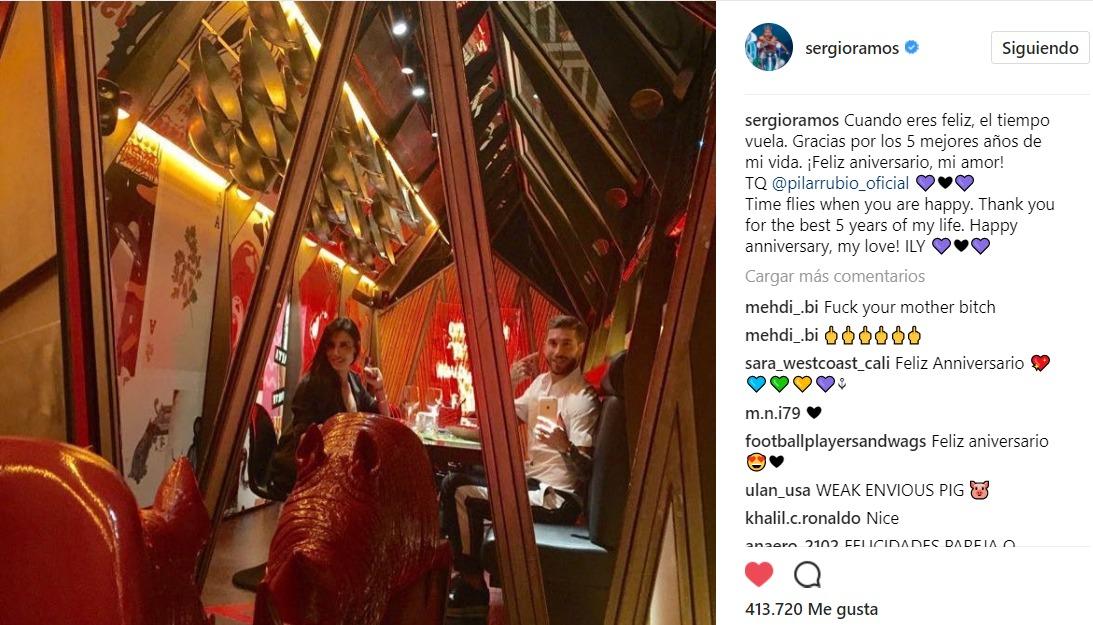 Sergio Ramos y Pilar Rubio lucen su amor con un intercambio de mensajes por su quinto aniversario