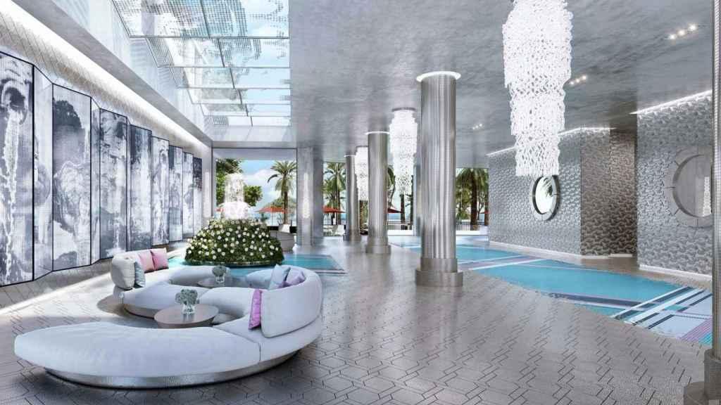 Entrada diseñada por Karl Lagerfeld para el complejo residencial de Sunny Isles Beach . | Foto: The Estates At Acqualina.