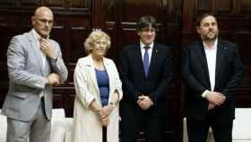 Romeva, Carmena, Puigdemont y Junqueras en el Ayuntamiento de Madrid