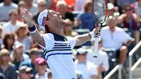 Schwartzman, celebrando una victoria en el US Open.