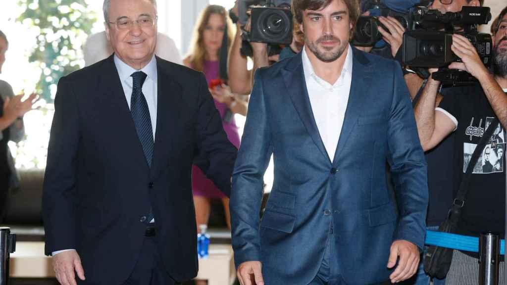 Florentino Pérez y Fernando Alonso juntos este lunes.